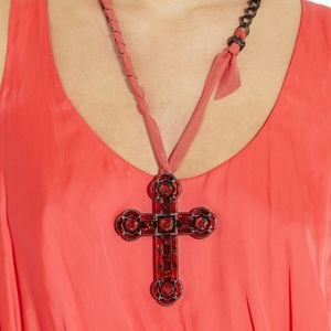 Lanvin Crystal And Glass Cross Necklace